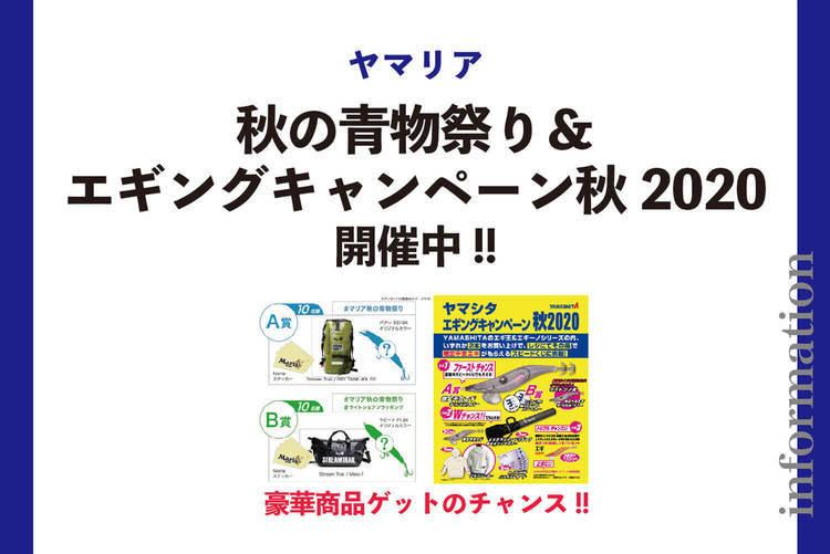豪華商品ゲットのチャンス!!「Maria秋の青物祭り」&「ヤマシタ エギングキャンペーン秋2020」開催中