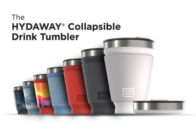 お気に入りのカップを持って出かけよう♪シリコン素材の折り畳み式タンブラー『HYDAWAY COLLAPSIBLE DRINK TUMBLER』