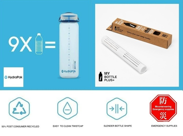 環境を考えたマイボトルと小型浄水スティックで災害時でも水道水を美味しく。【HydraPakリーコン】【MY BOTTLE PLUS+】