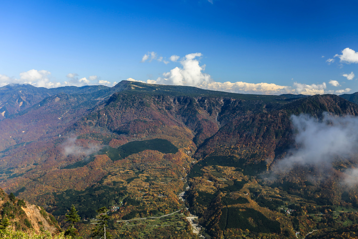 鳥甲山から見る苗場山