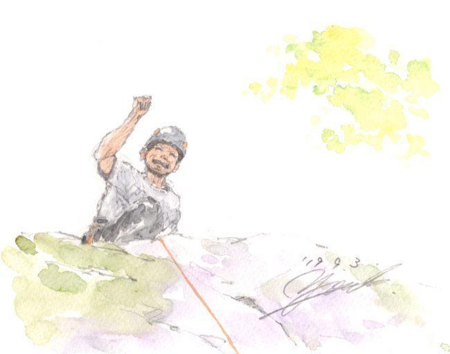 筆とまなざし#145「秋のクライミングシーズン突入! 先日の岩場での一コマ」