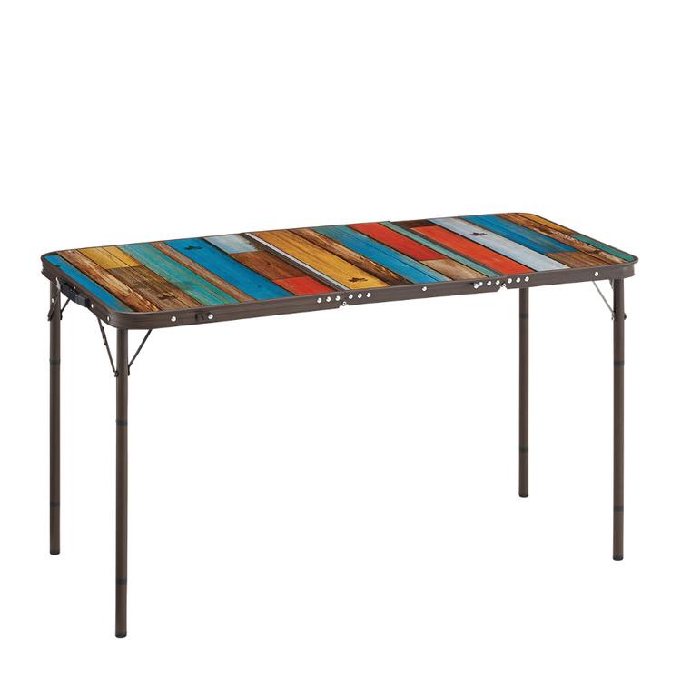 大人数で使えるワイドサイズかつスリム収納可能なアウトドアテーブル『グランベーシック 丸洗い4FDスリムテーブル 18080』