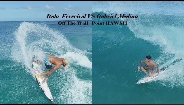 タイトルを争う世界ランク1位イタロ・フェレイラと2位ガブリエル・メディーナの空撮サーフィン映像
