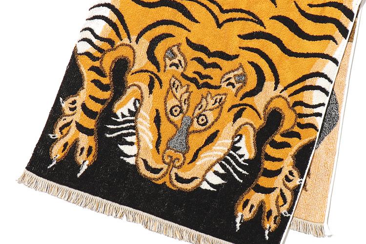 あのトラ柄をキャルオーラインが今治タオルにオン! 遊び心ある絨毯風ブランケットタオル。
