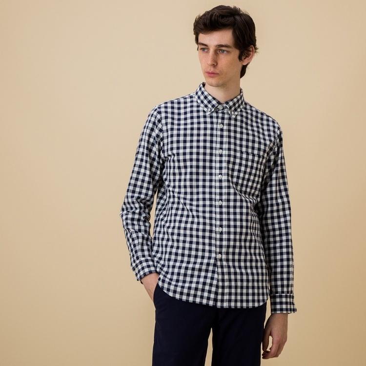 吸水速乾 オックス組織ギンガムチェックシャツ