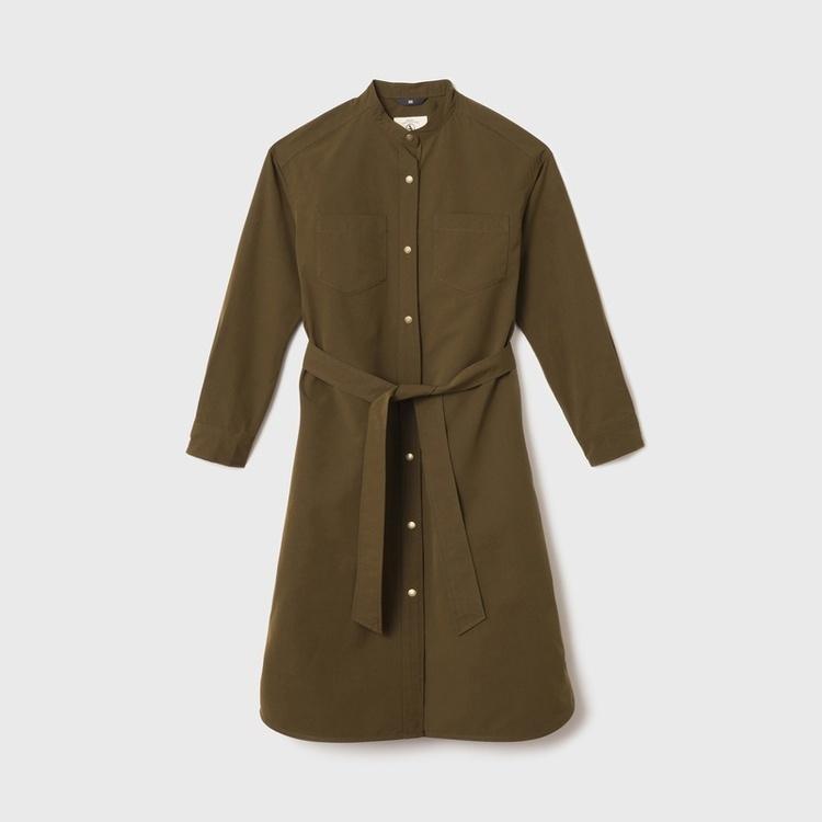 AIGLE(エーグル)/撥水加工 スタンドカラー ロングシャツコート