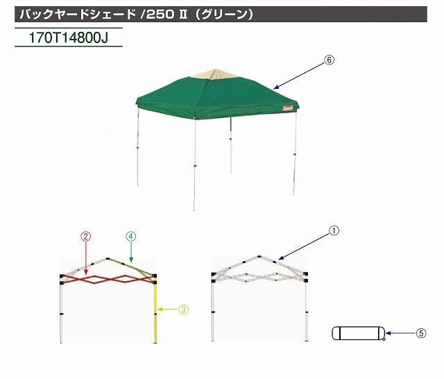 Coleman(コールマン)/バックヤードシェード /250 Ⅱ メインフレームセット一式