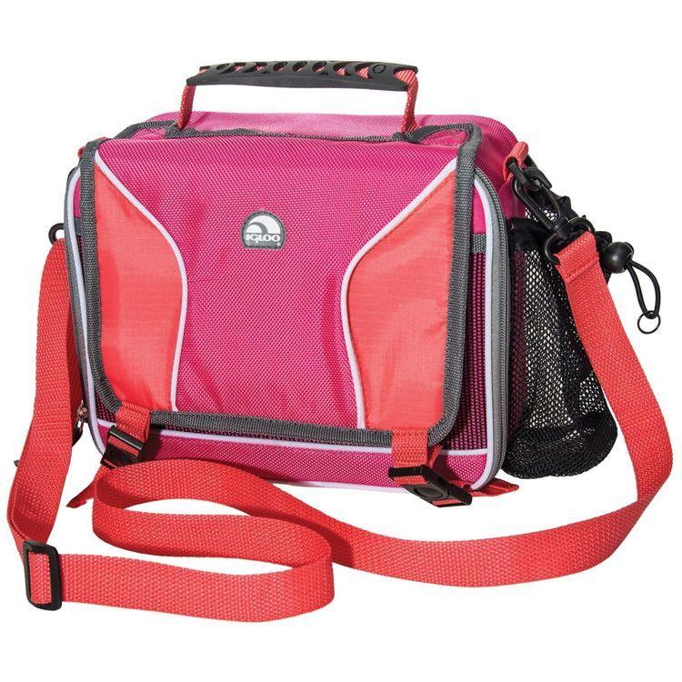 Hot Brights Girls Messenger Lunch Bag Pink/Coral