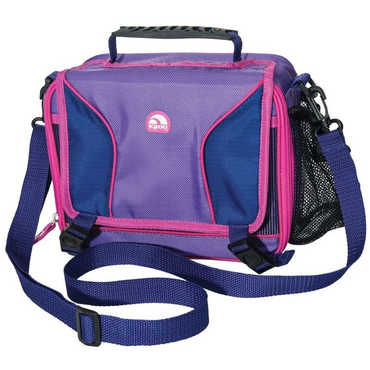 Hot Brights Girls Messenger Lunch Bag Purple