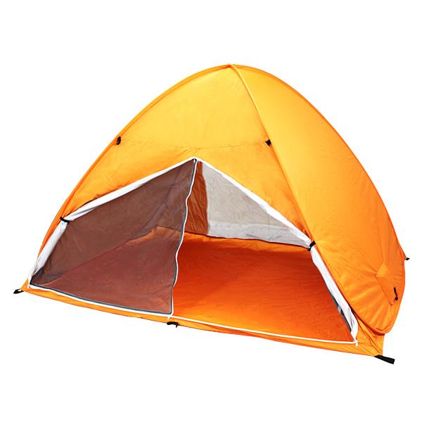 ワンタッチテント ポップアップテント 200×150×130cm サンシェード 簡易ロック付き オレンジ