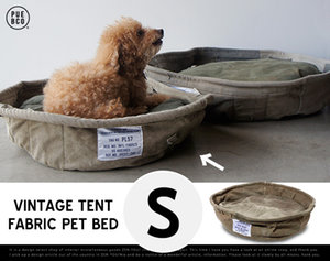 VINTAGE TENT FABRIC PET BED Small