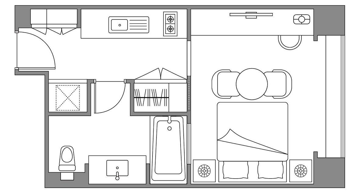 [14連泊]キッチン付スタジオキングルーム(約38平米)1~2名利用プラン