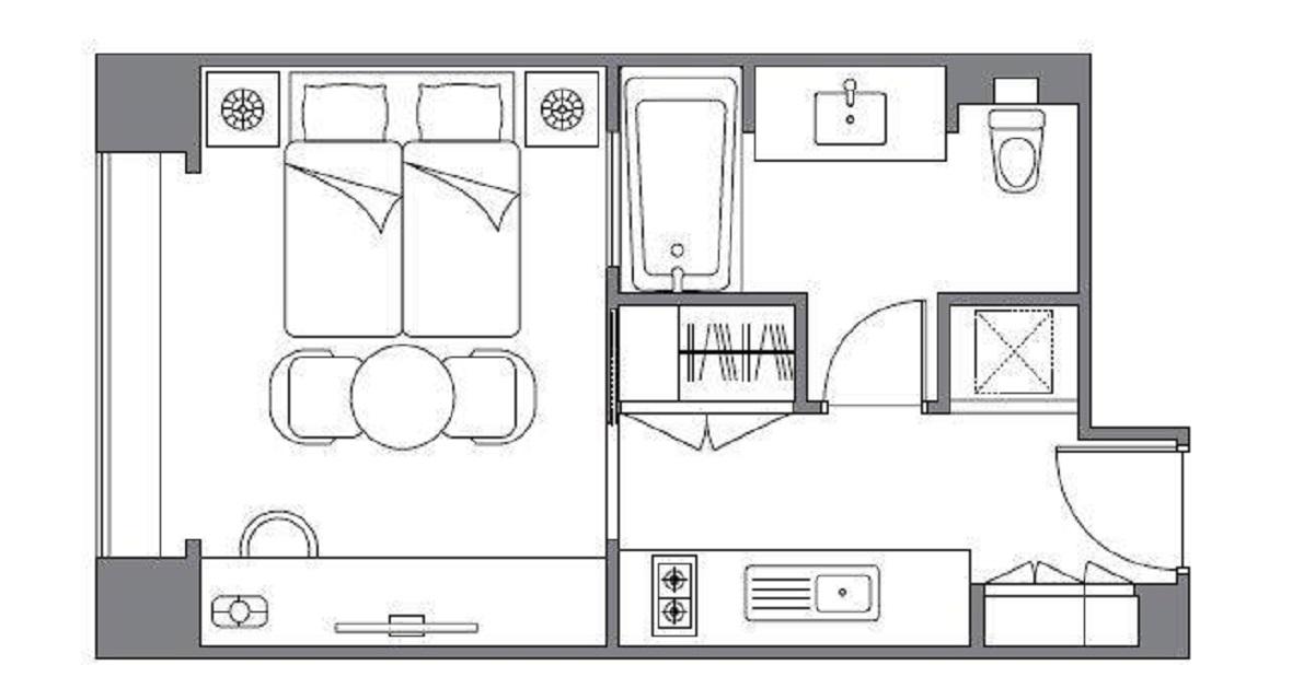 [12泊]6連泊(日~金)×2週 キッチン付スタジオツインルーム(約38平米)1~2名利用プラン