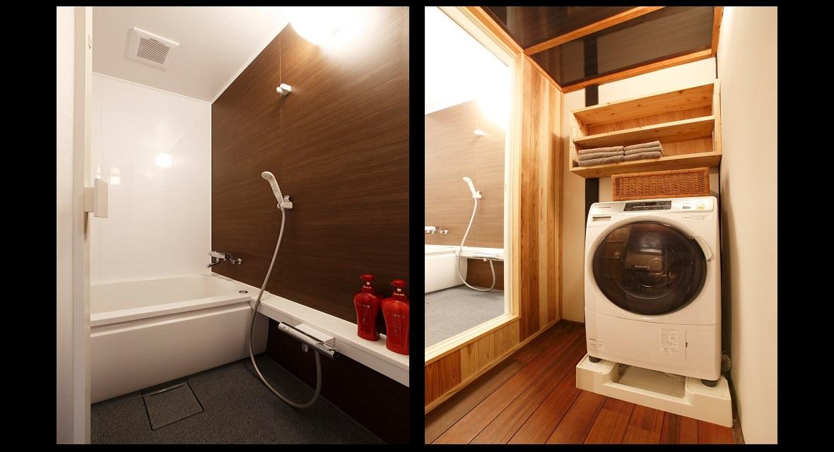 【左】浴槽付きのバスルーム/【右】脱衣所には、ドラム式の洗濯機を設置