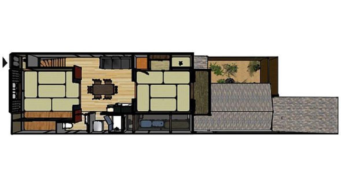 【間取り】ダイニングキッチン15平米+和室13.3平米+洋室15.28平米+シャワー+トイレ