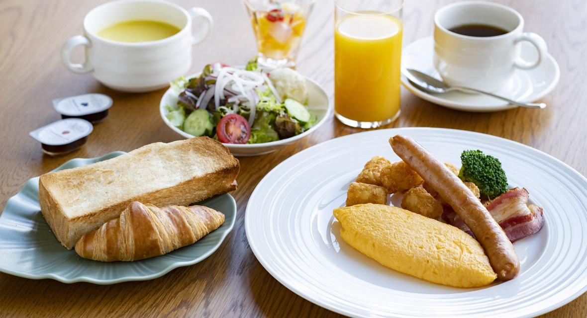 【オプション朝食】朝食は、洋食と和食からご選択いただけます。(The Worke特別料金:2,000円(税サ込)/人)※洋食イメージ