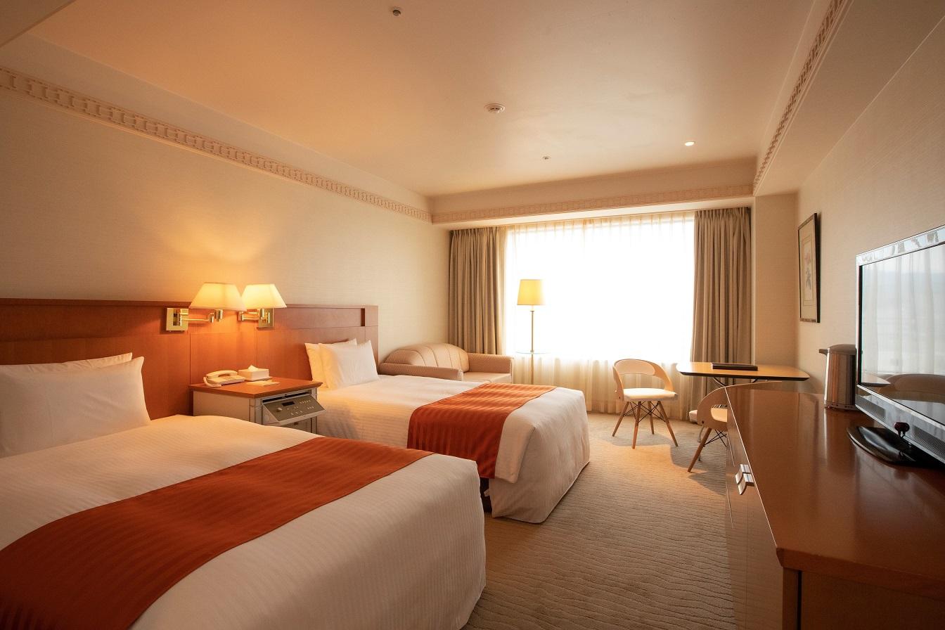 【ツインルーム】1~2名様利用 清潔感にこだわったデュベスタイルの寝具。