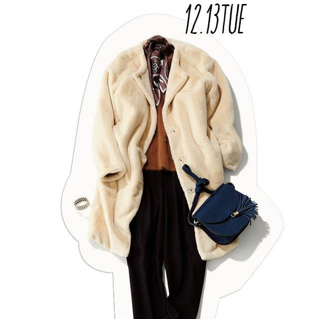 冬のふわもこスタイル。きれいめタックパンツ&スカーフできちんと感を上げて