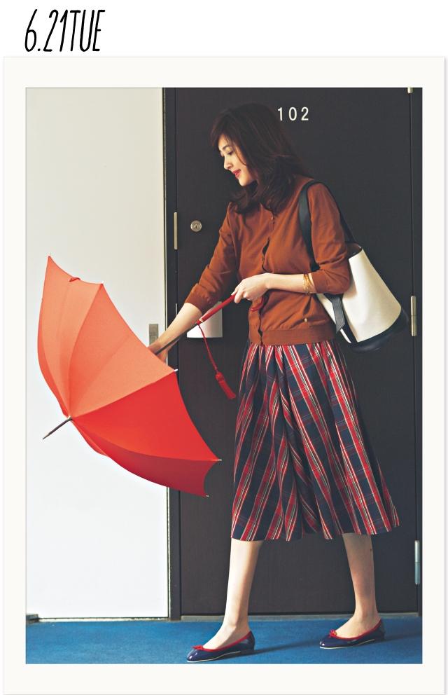 小雨でも女らしく♡ 雨対応名品バレエシューズは、トレンドアイテムと好相性!