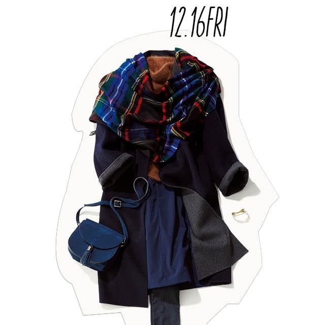 きちんと感の中に可愛げを♡ 冬のネイビースタイルは、ふわふわアイテムを加えて