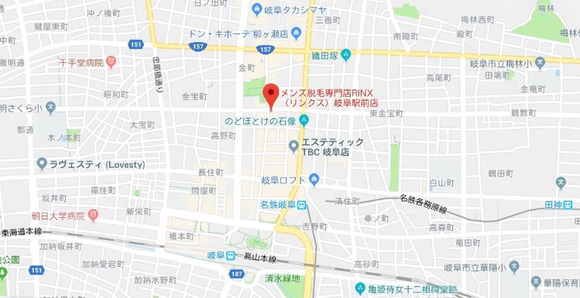 メンズ脱毛専門店RINX(リンクス)岐阜駅前店グーグルマップ