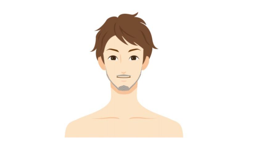 頬の無精髭