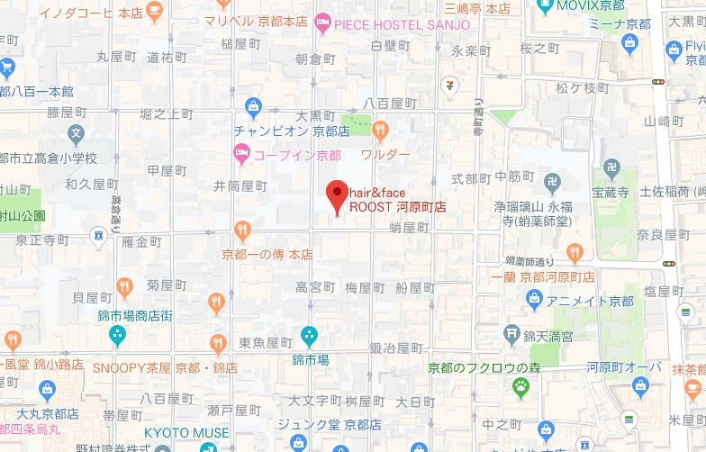 hair&face ROOST 河原町店 グーグルmap