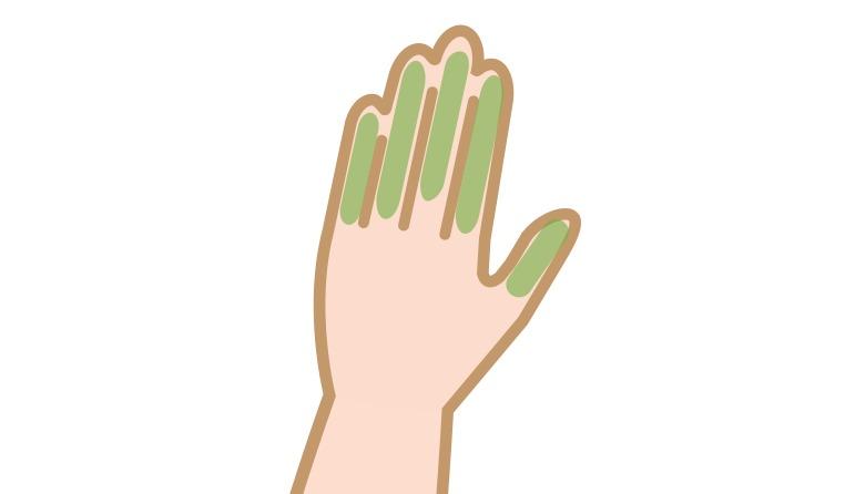 手の甲や指毛