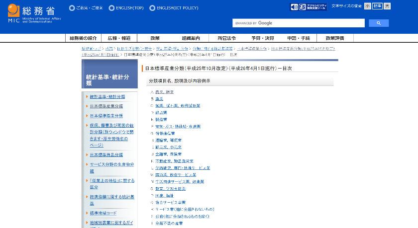 総務省ホームページ「日本標準産業分類(平成25年10月改定)(平成26年4月1日施行)-目次」より