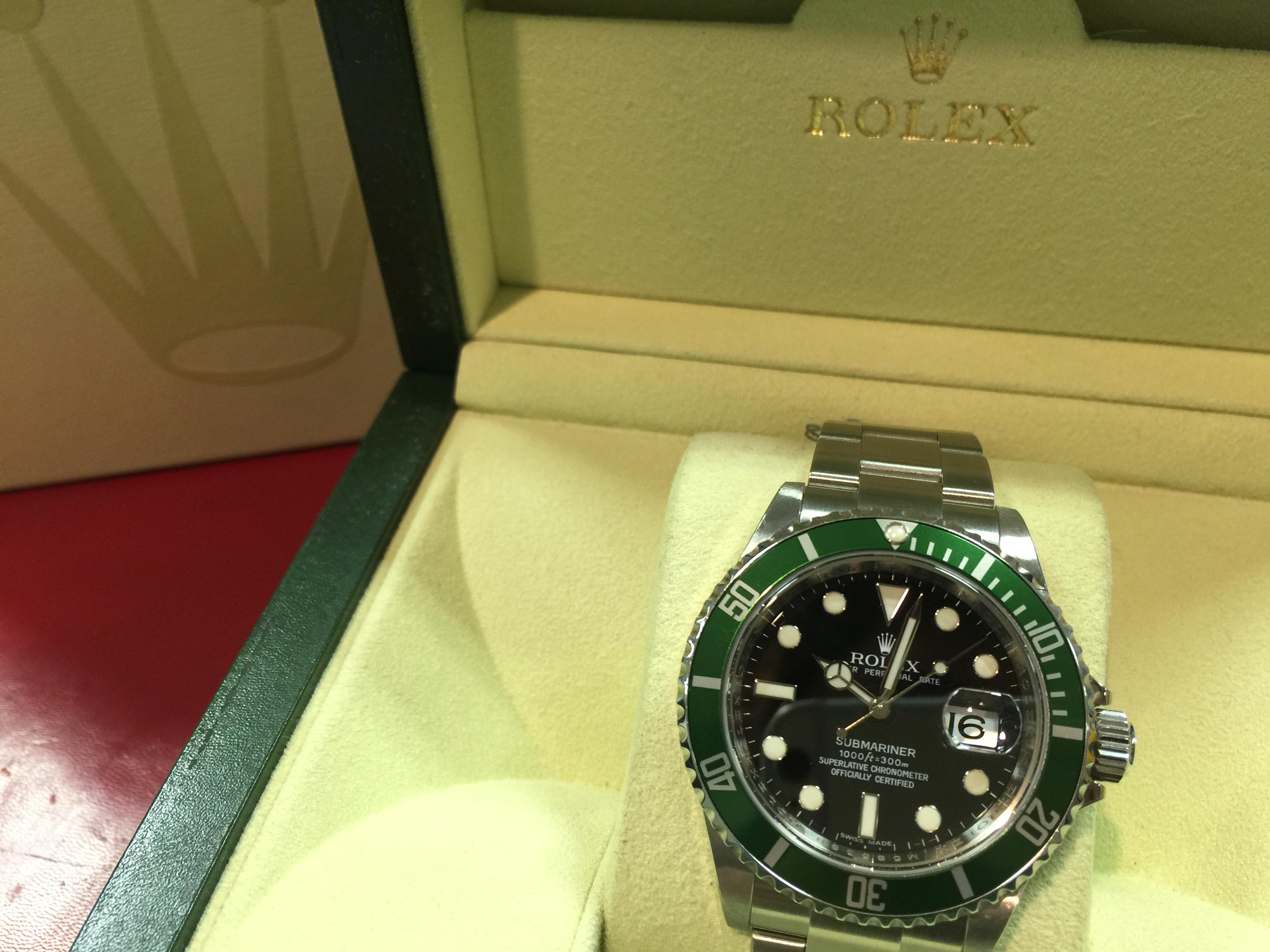 new product fb42d db593 ロレックス ROLEX グリーンサブマリーナー 16610LV M番 | 時計の ...