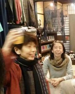 ripinのレセプションで:故柴田由美子さん(左)と植木さん
