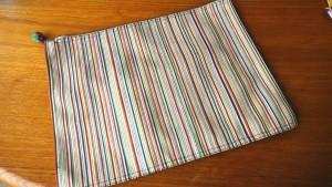 13白地多彩縞綴れ帯