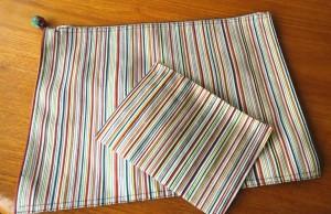 14白地多彩縞綴れ帯ポーチ付きセット