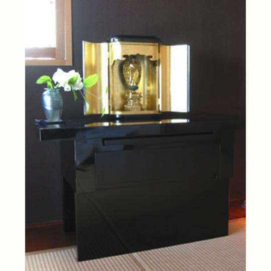 お仏壇・厨子置き台 黒漆塗り引き板、引き出しつき