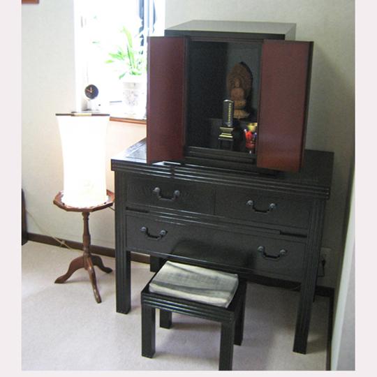 タモ 総無垢 黒拭き漆塗り お仏壇・お厨子置き机