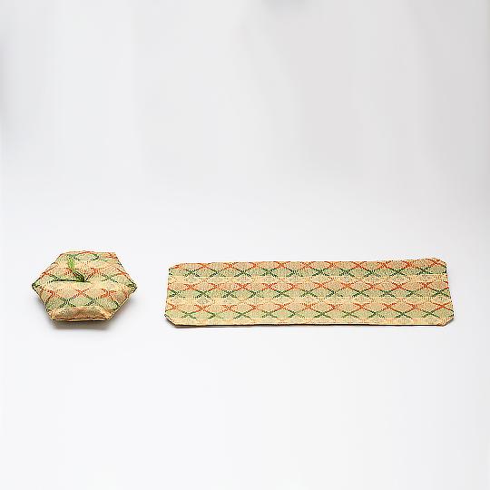 仏具 敷布 花菱橙 02