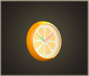 Orange wall-mounted clock