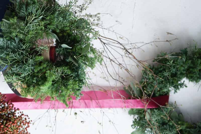 生花クリスマスリースナチュラルMサイズ