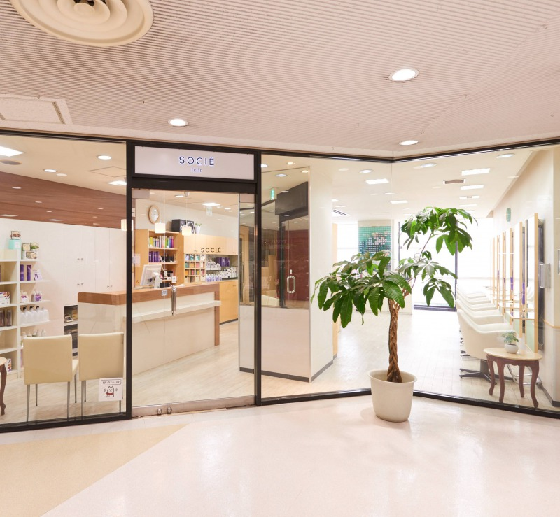 鶴川店 ヘアーサロン ソシエの店内を解説した画像。