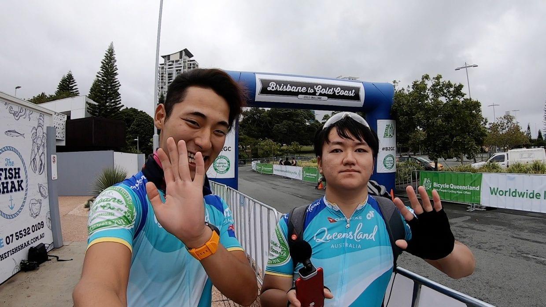 ▲B2GCを完走したサイクリングマン(左)マツムラ(右)