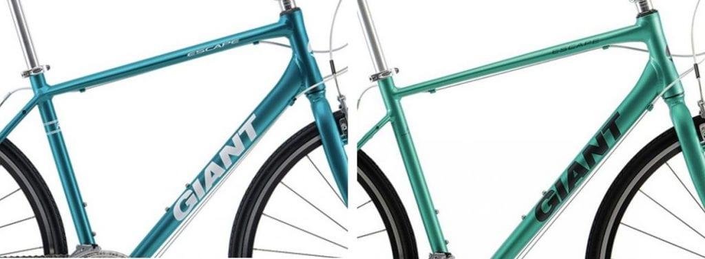 (左)2019年モデル、(右)2020年モデル。シートステーはトップチューブ接合位置より下オフセットになり、剛性アップ。
