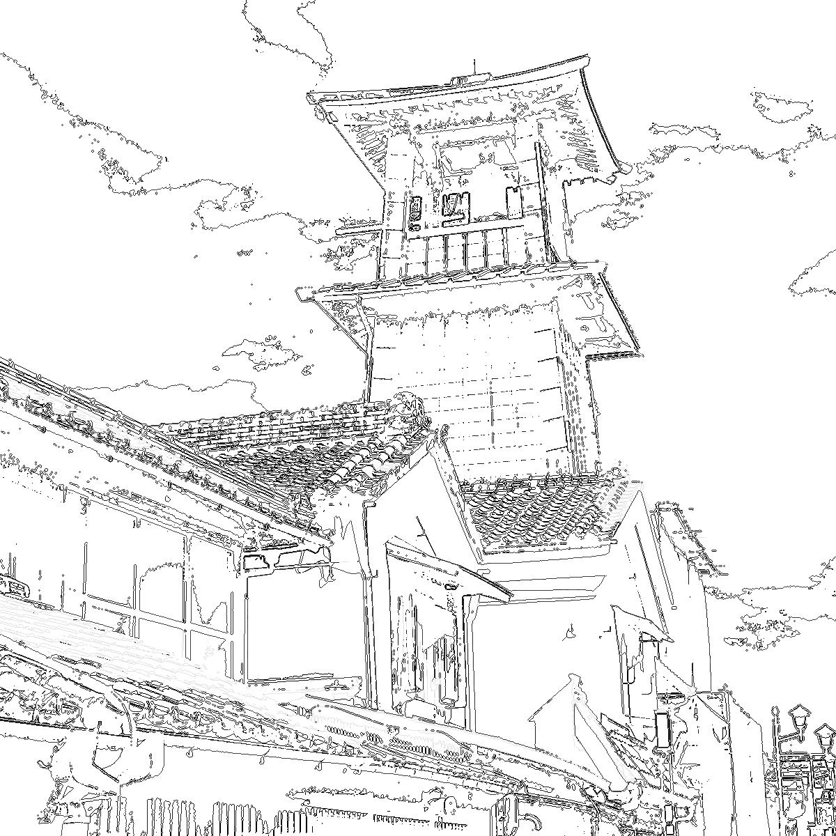 川越 時の鐘 線画 イー・レンジャー株式会社
