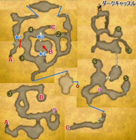 暗闇の洞窟宝箱マップ