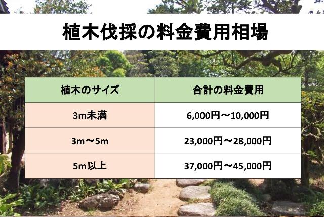 植木伐採の料金費用相場の表