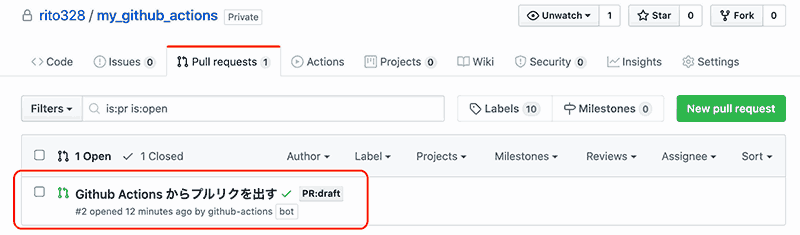 Github Actions で Pull Request を作成する