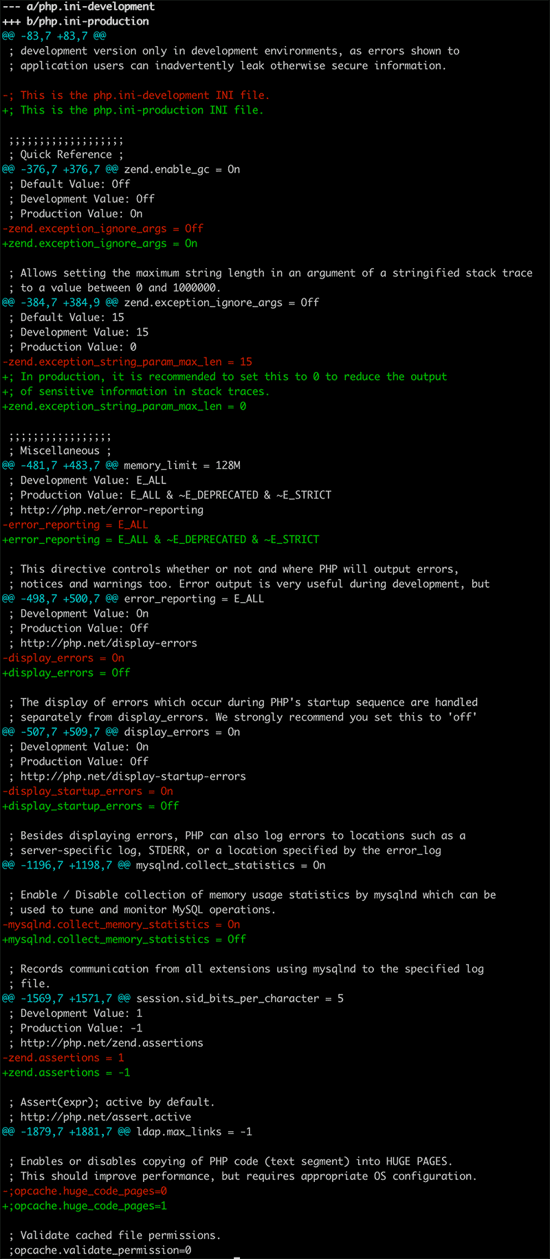 php.ini-developmentとphp.ini-productionの差分