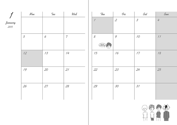 「奥義!KANA-BOON超合体BOX」2015年版カレンダーノート(中面)