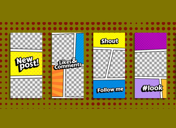 Editable stories templates for smartphone. Stream cover. Comic book, pop art style. Isolated, vector