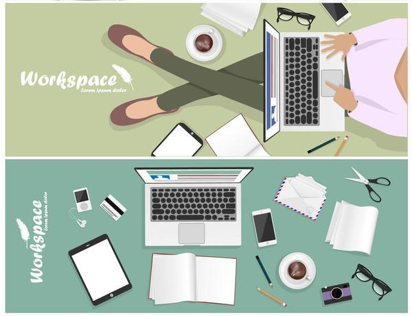 set of workspace banner for facebook Poster vector Design