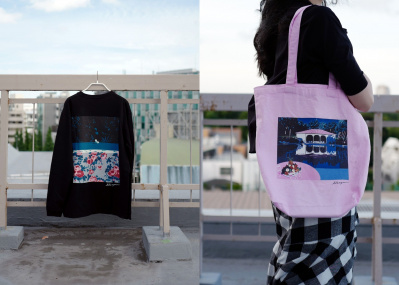 世代を超えて愛されてきた永井博のイラストが、数量限定でTシャツとバッグに!